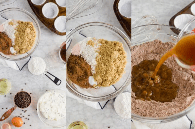 A photo showing the process of mixing together the batter for gluten-free chocolate cheesecake cupcakes.