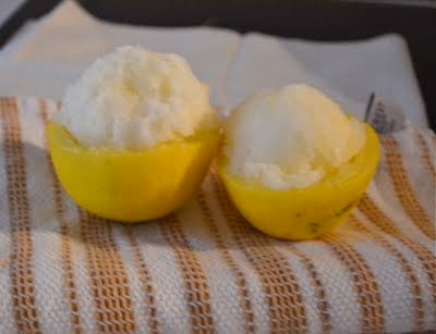 Lemon halves stuffed with lemon sorbet.
