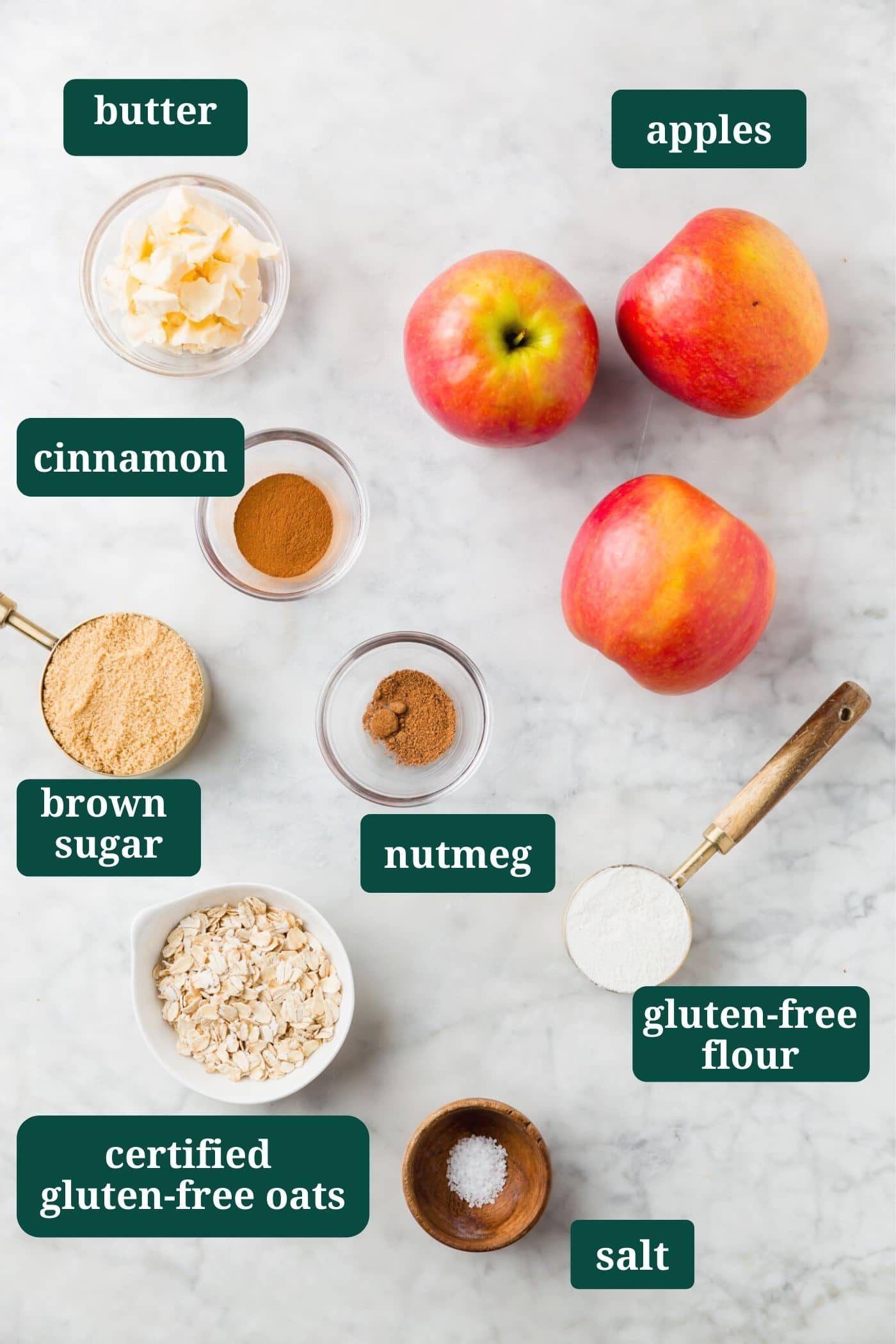 An overhead shot of ingredients labeled to make gluten-free baked stuffed apples.
