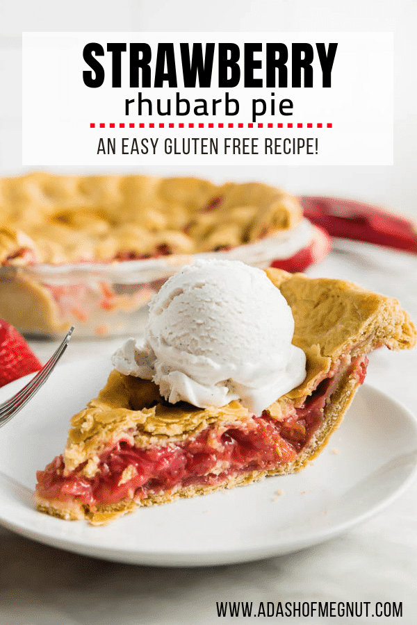 A piece of gluten free pie with a strawberry rhubarb filling on a plate and topped with vanilla bean ice cream.