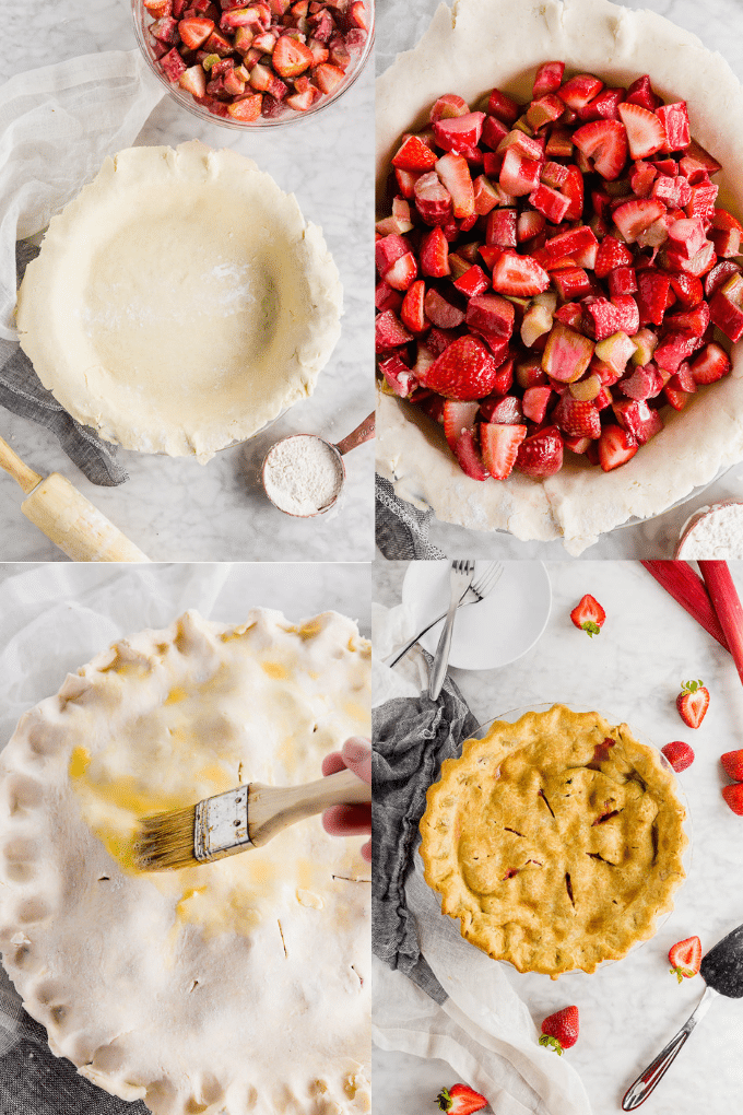 Four photos showing the process of making a gluten free strawberry rhubarb pie from making the fruit filling, rolling out the pie crush, brushing with egg wash, and baking the pie until golden brown.