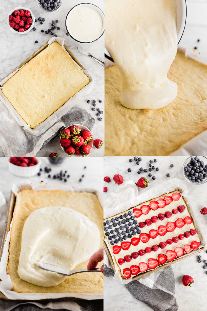 A collage of photos showing the process of making a Gluten free American Flag Cookie cake from baking the rectangular cookie crust, pouring and spreading the cream cheese frosting on top and the finished product decorated with strawberries, blueberries and raspberries to look like a flag.