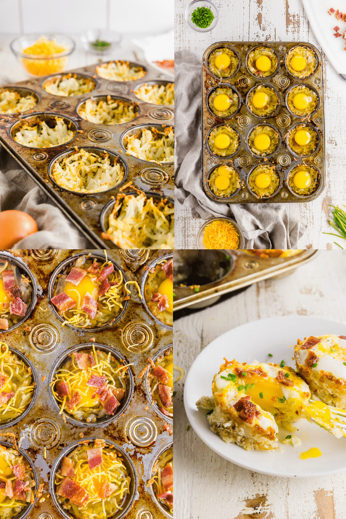 A collage of four photos showing the process of making breakfast egg cups with hash browns from pressing the hash browns into the muffin tin, adding an egg and cooked bacon on top, and baking the egg cups with a runny yolk.