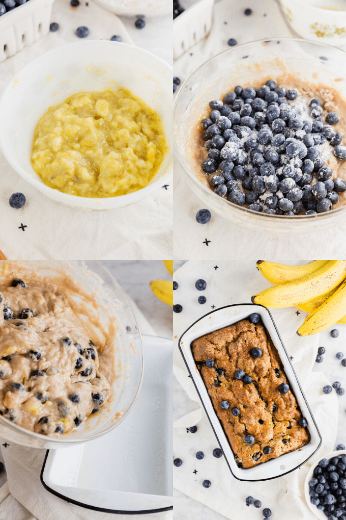 A collage showing how to make blueberry banana bread from mashing the bananas to adding blueberries to the batter, to pouring the batter into the loaf pan to baking the bread.