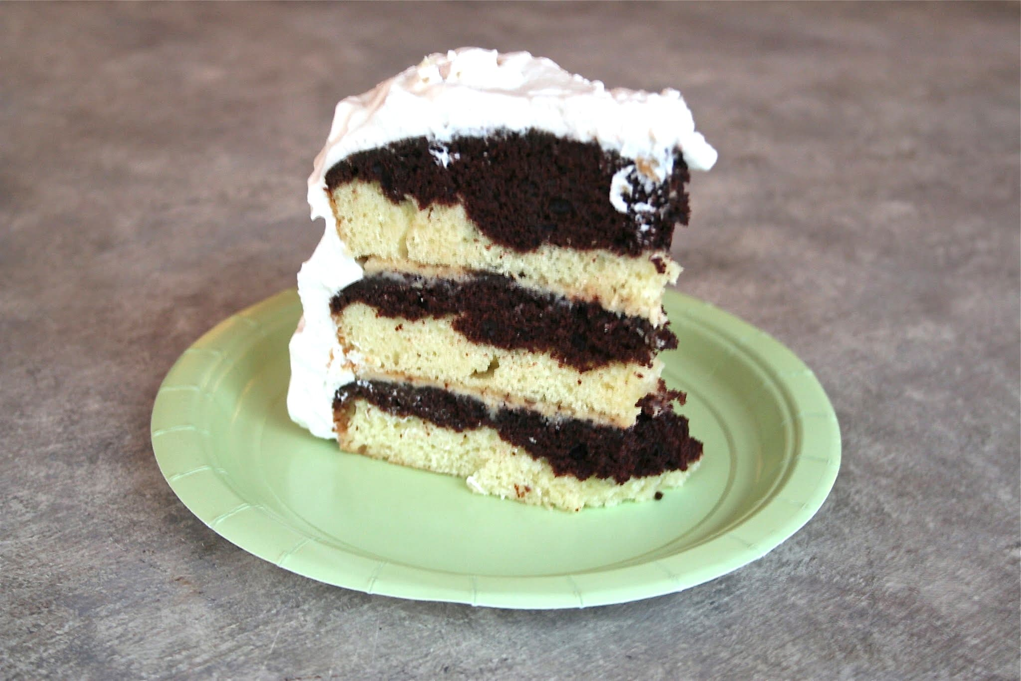 Tuxedo Cake With Mocha Filling And Whipped Cream Topping