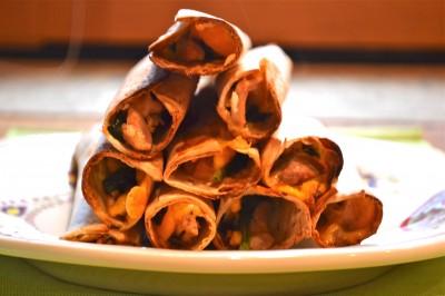 Baked Chicken Spinach Flautas