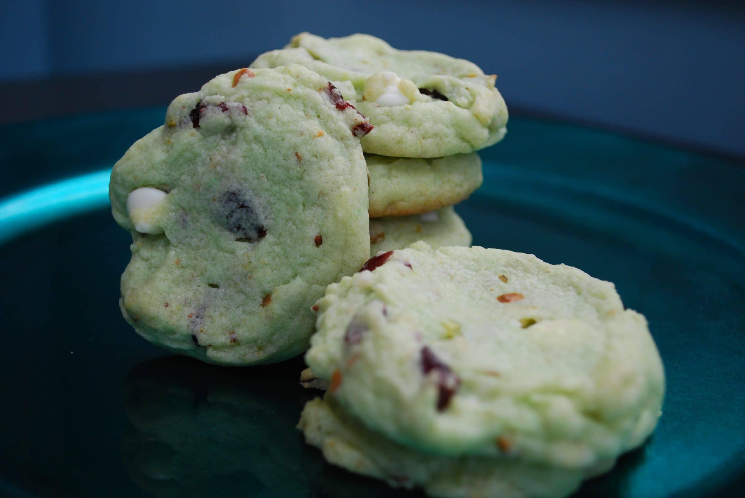 Cranberry Pistachio White Chocolate Chip Cookies - A Dash of Megnut