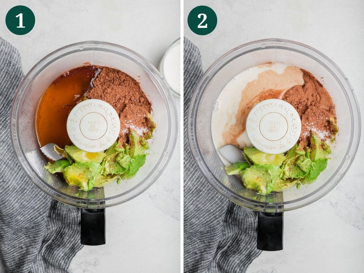 A food processor with avocado, cocoa powder, maple syrup, and almond milk for chocolate pudding.