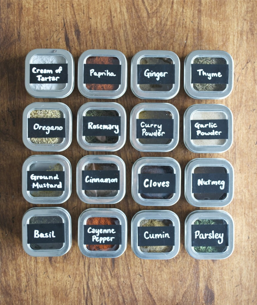 DIY Magnetic Chalkboard Spice Tins