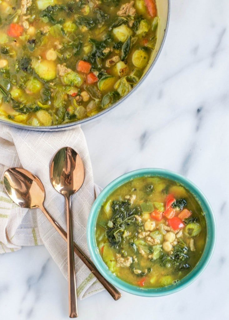 Turkey Brussels Sprout Soup (GF) - A Dash of Megnut