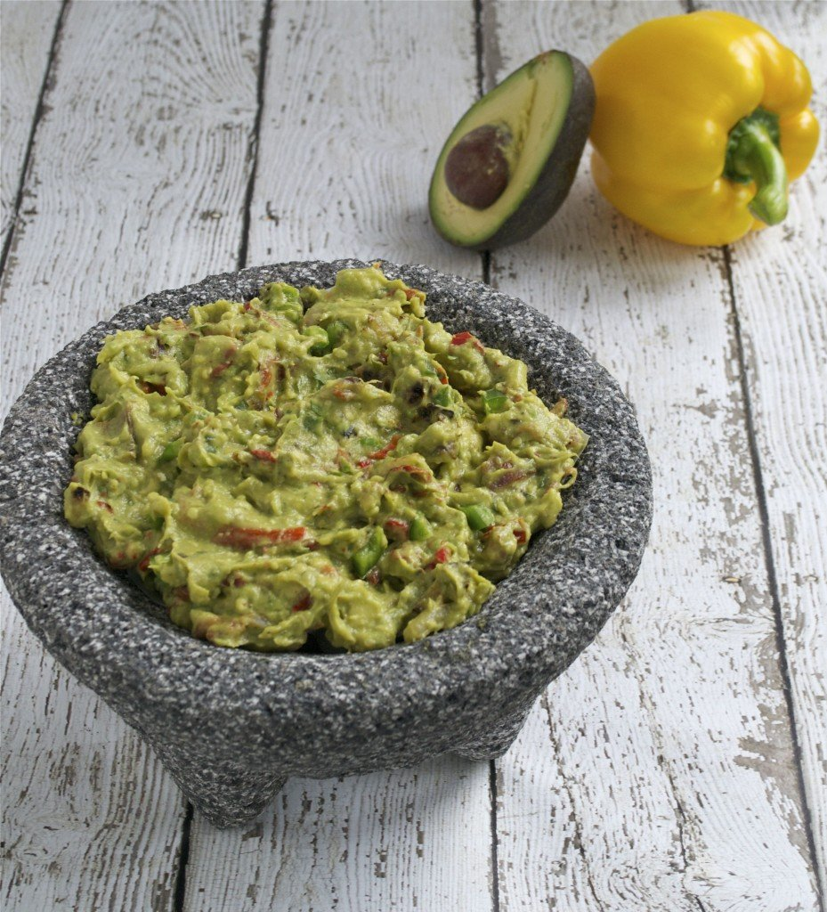 Bacon and Roasted Bell Pepper Guacamole | A Dash of Megnut