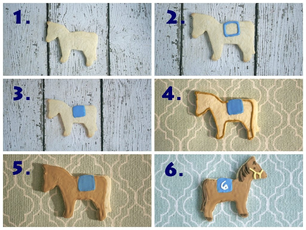 A collage showing the process of decorating with royal icing to make Kentucky Derby sugar cookies.