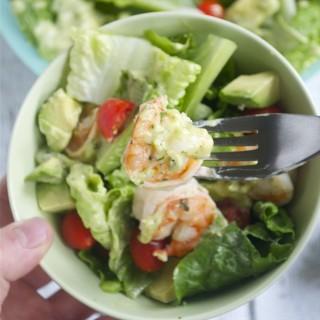 Cilantro Lime Shrimp Salad with Avocado Dressing (GF, DF, SF) | A Dash of Megnut