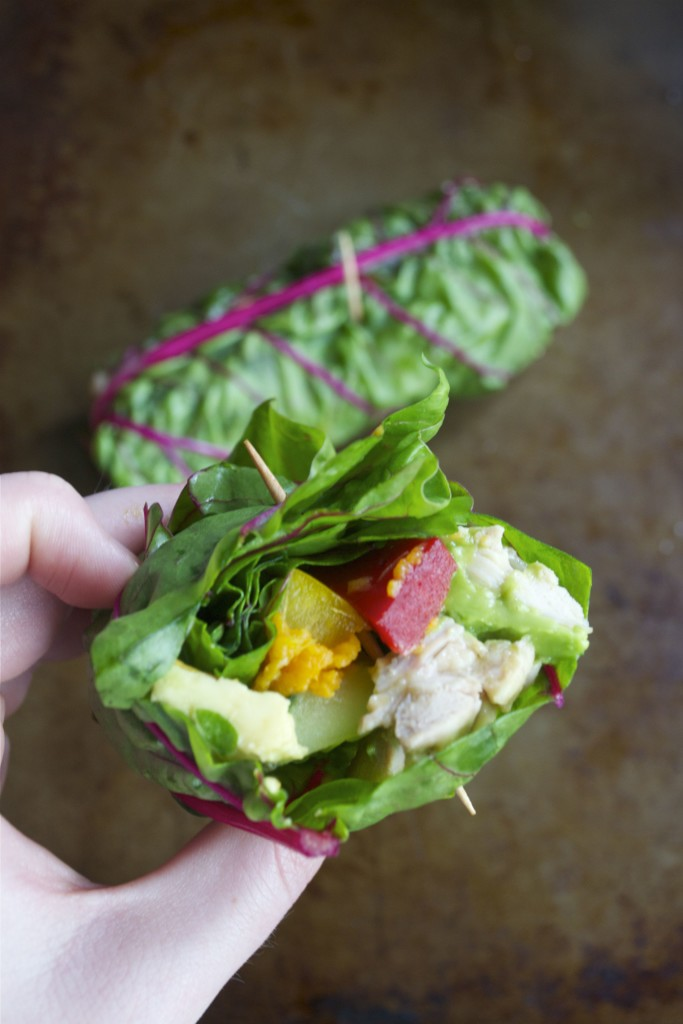rainbow Chard Chicken Wraps