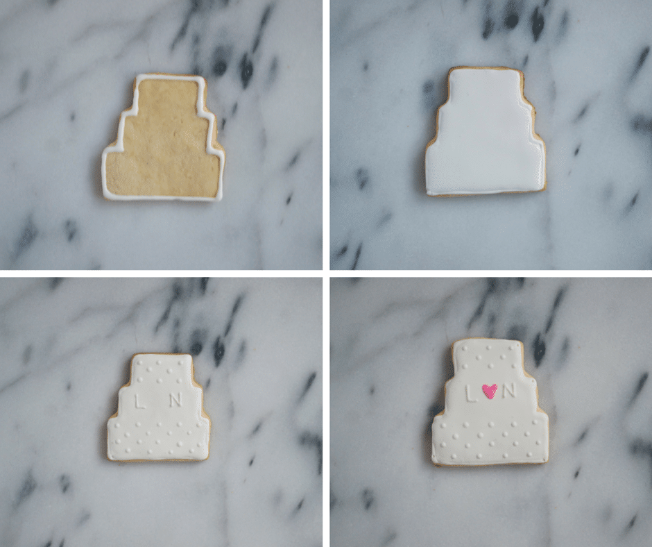 A collage showing the process of decorating wedding cake sugar cookies with royal icing.