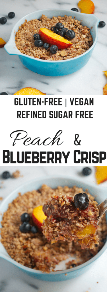 Peach Blueberry Crisp (GF, DF, V, RSF) - A Dash of Megnut