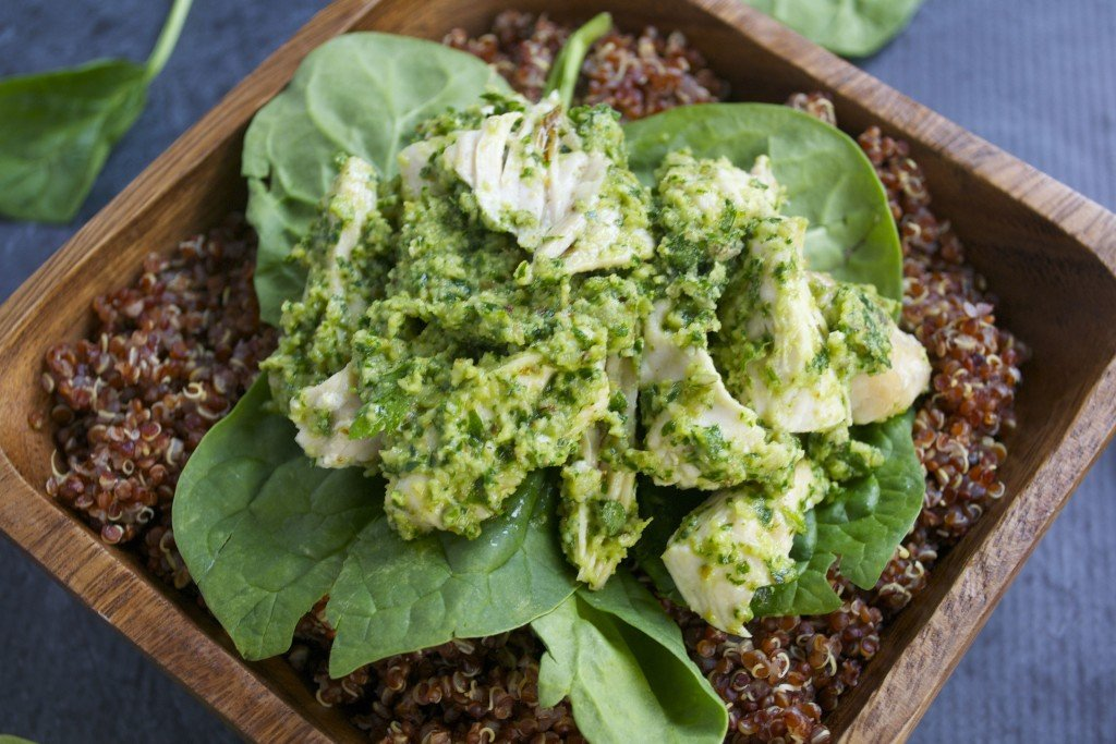 Chicken Pesto Quinoa Bowl - (GF, DF) A Dash of Megnut