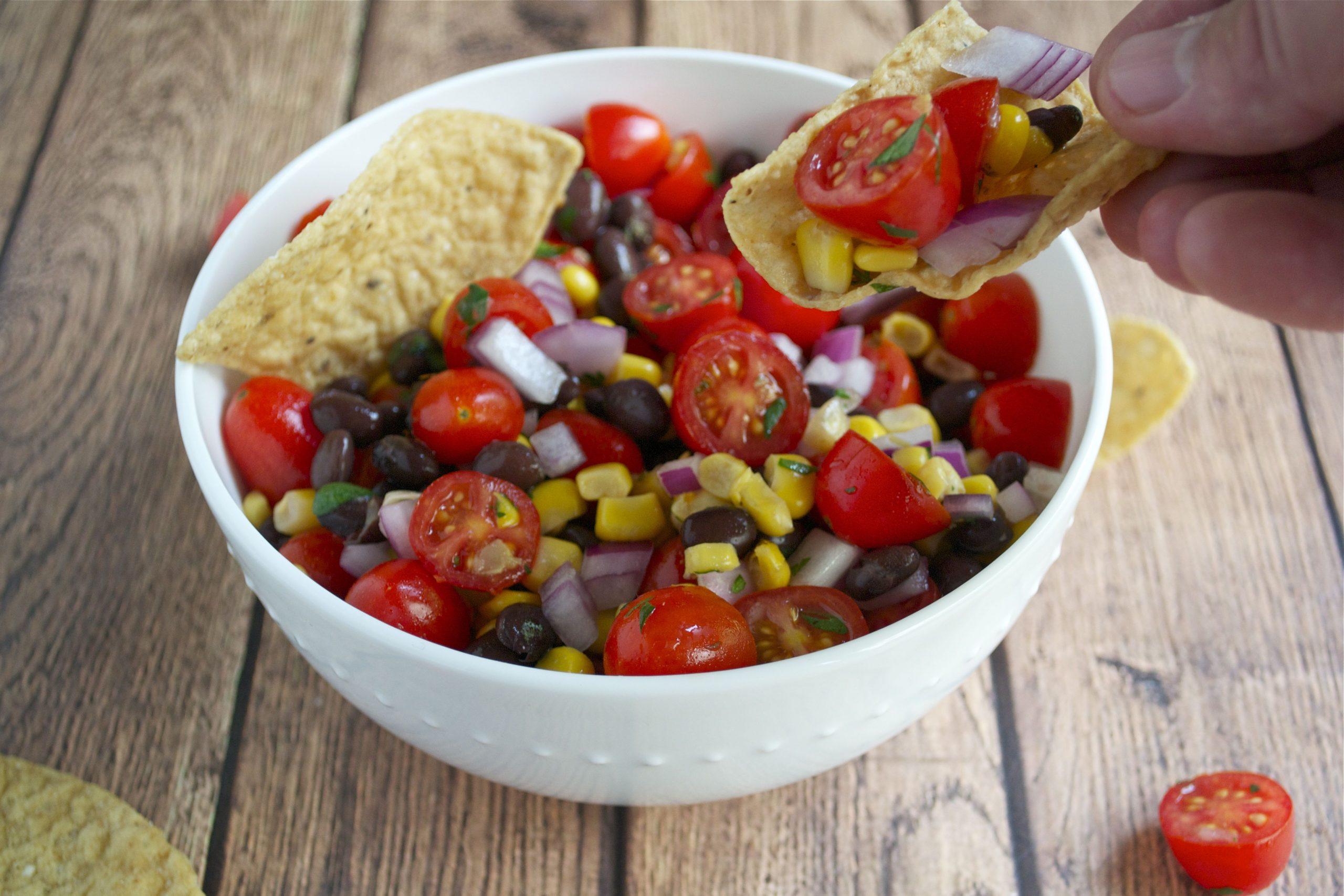 Cherry Tomato Corn Salsa (GF, DF, V, SF) - A Dash of Megnut