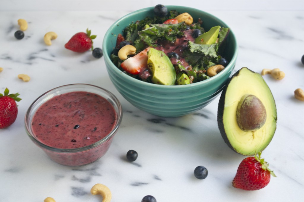Rainbow Power Salad with Blueberry Vinaigrette (GF, DF, V, SF) - A Dash of Megnut