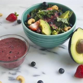 Rainbow Power Salad with Blueberry Vinaigrette (GF, DF, V, SF) - A Dash of Megnut