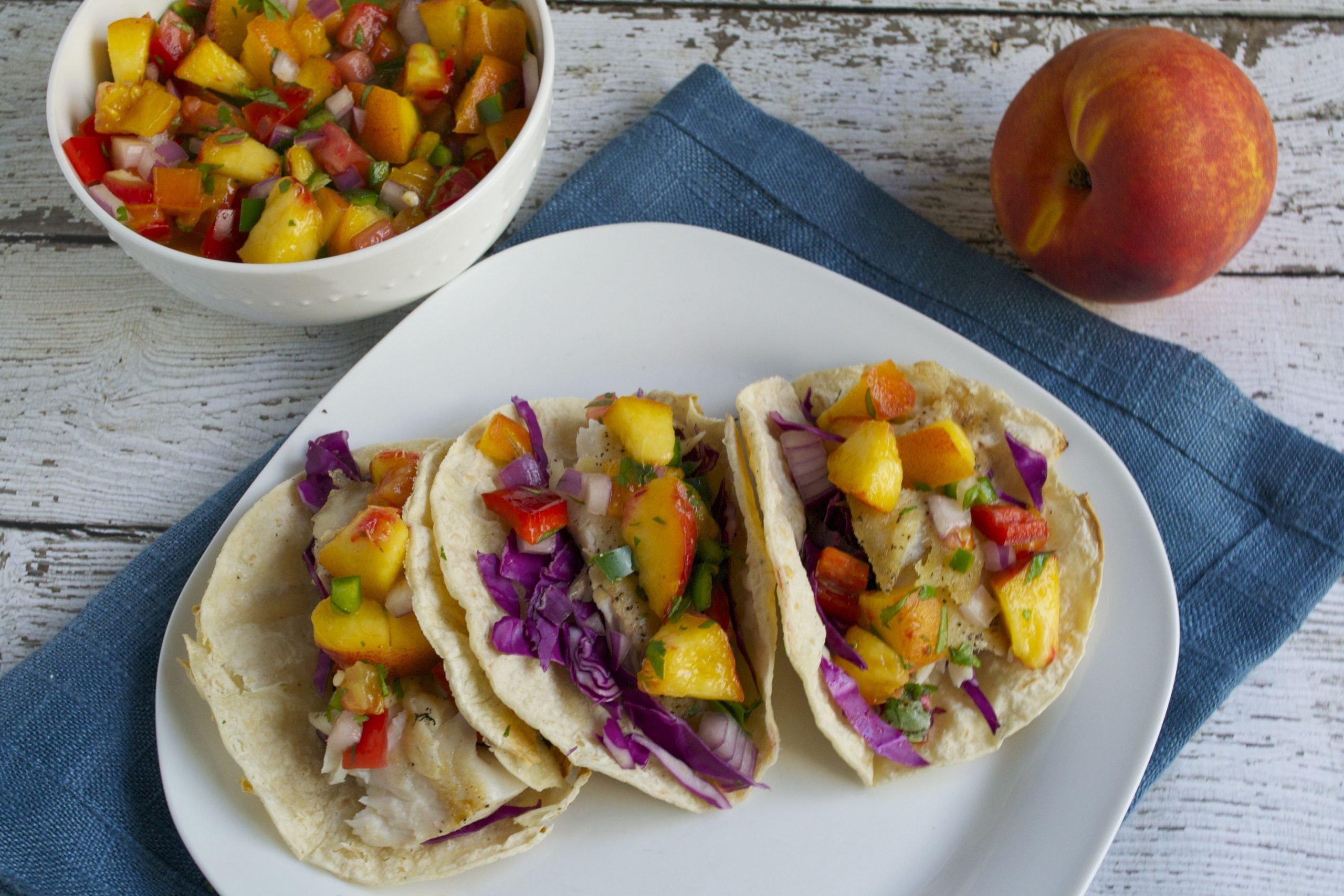 Tilapia Fish Tacos with Peach Salsa (GF, DF) - A Dash of Megnut