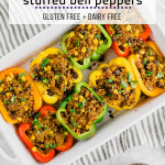 A baking casserole dish filled with colorful stuffed bell peppers with quinoa, beef, corn, and fresh cilantro.