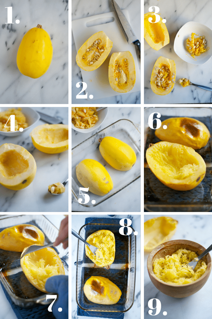 A collage showing the process of making roasted spaghetti squash.