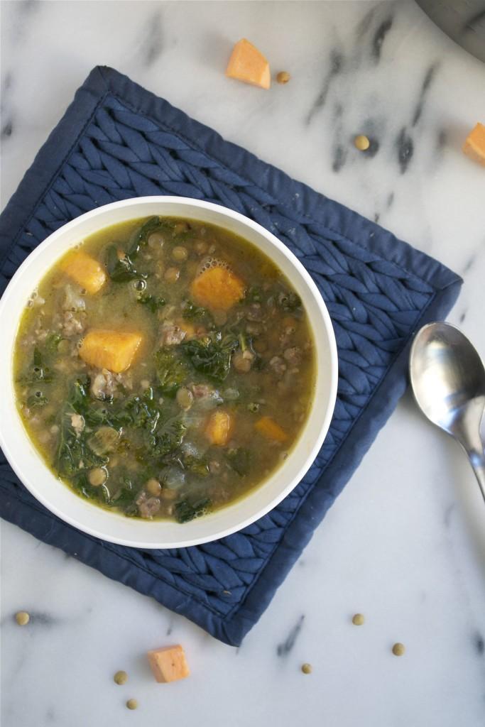 Sausage Kale and Lentil Soup (GF, DF) - A Dash of Megnut