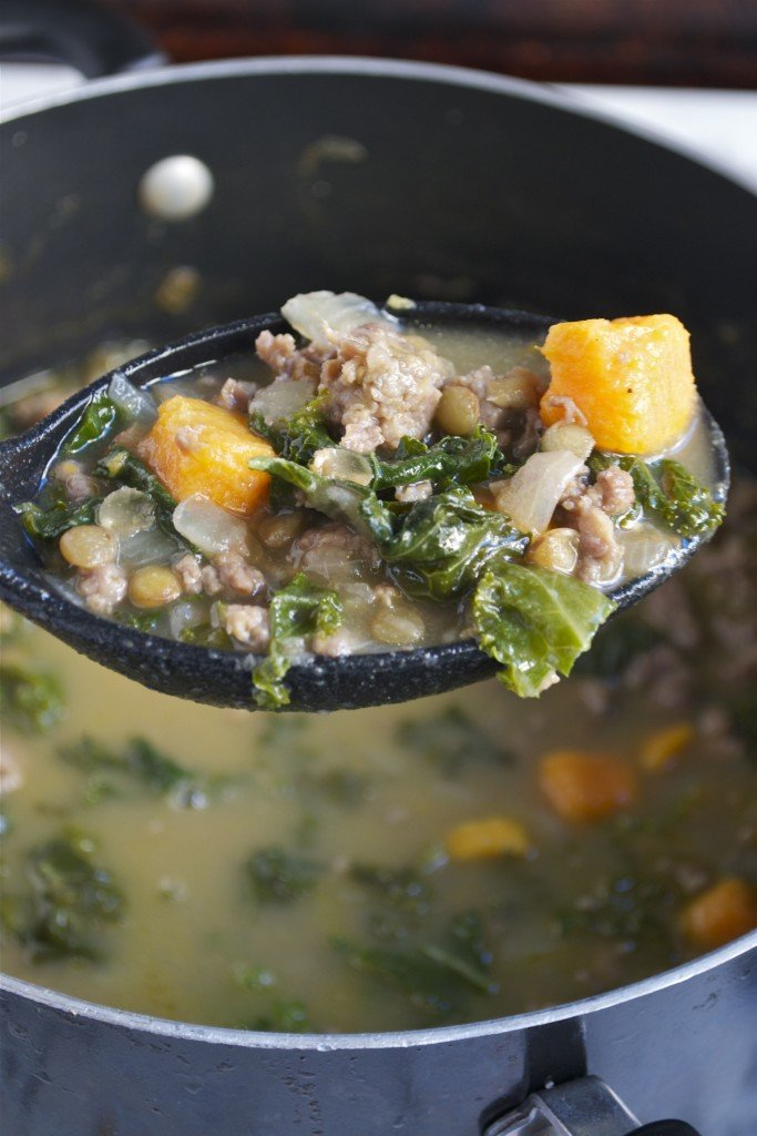Sausage Kale and Lentil Soup (GF, DF) - A Dash of Megnut