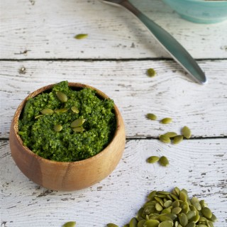 Vegan Kale Pumpkin Seed Pesto (GF, DF, V) - A Dash of Megnut