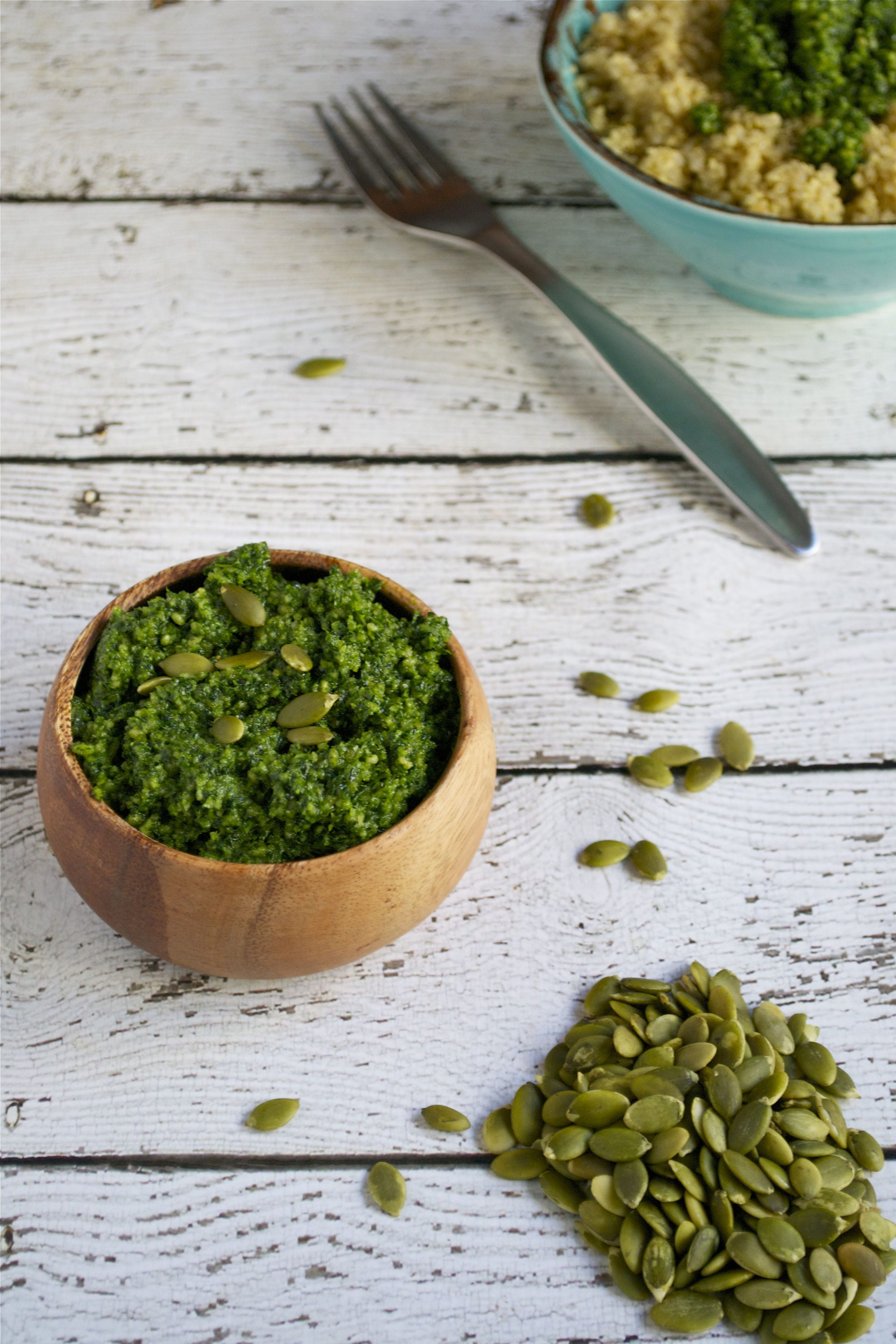 Vegan Kale Pumpkin Seed Pesto (GF, DF, V) - A Dash of Megnut