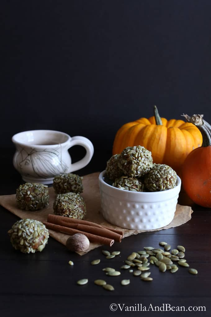 A bowl of pumpkin energy bites in front of pumpkins in the background.