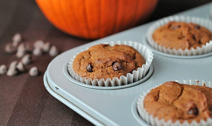 Muffin tin with pumpkin chocolate chip muffins in it and a large pumpkin in the background.