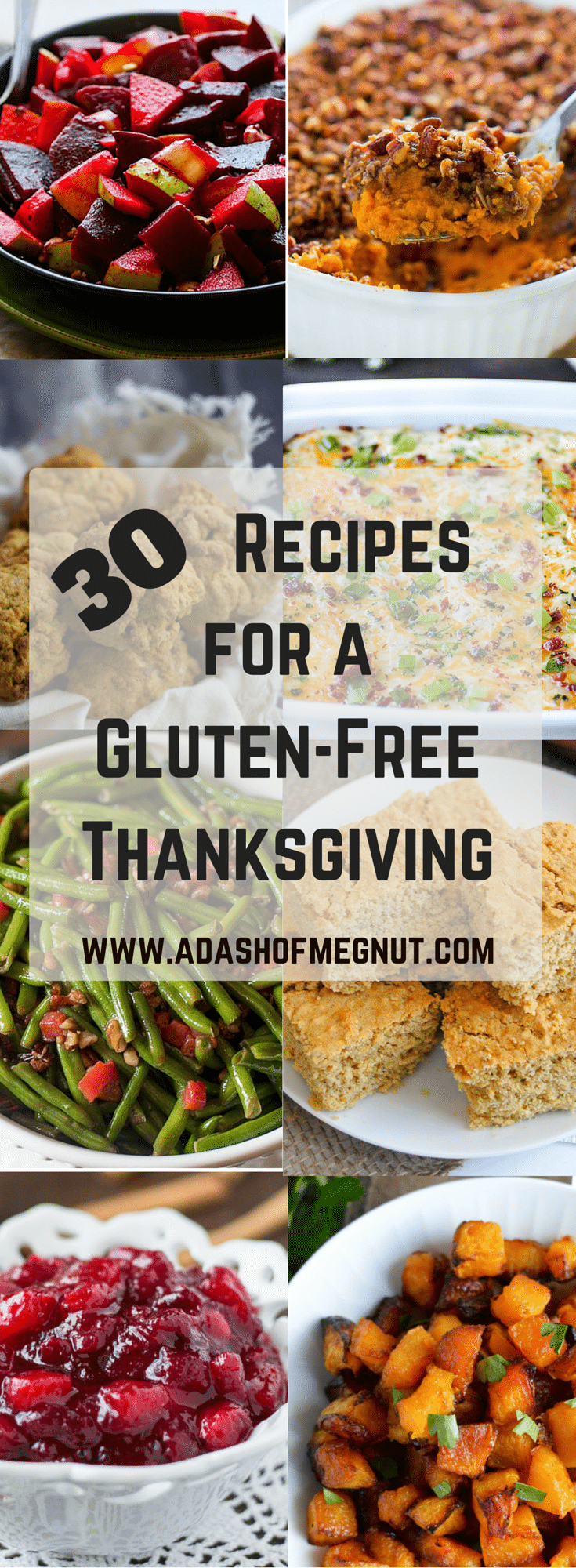 A collage of gluten-free recipes for Thanksgiving.