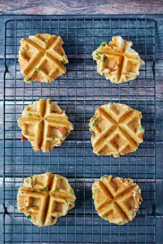 Savory Bacon Mashed Potato Waffles (GF, DF) - A Dash of Megnut