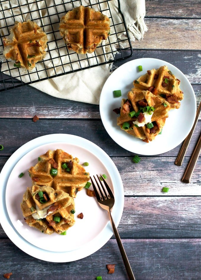Savory Bacon Mashed Potato Waffles (GF, DF) - A Dash of Megnut