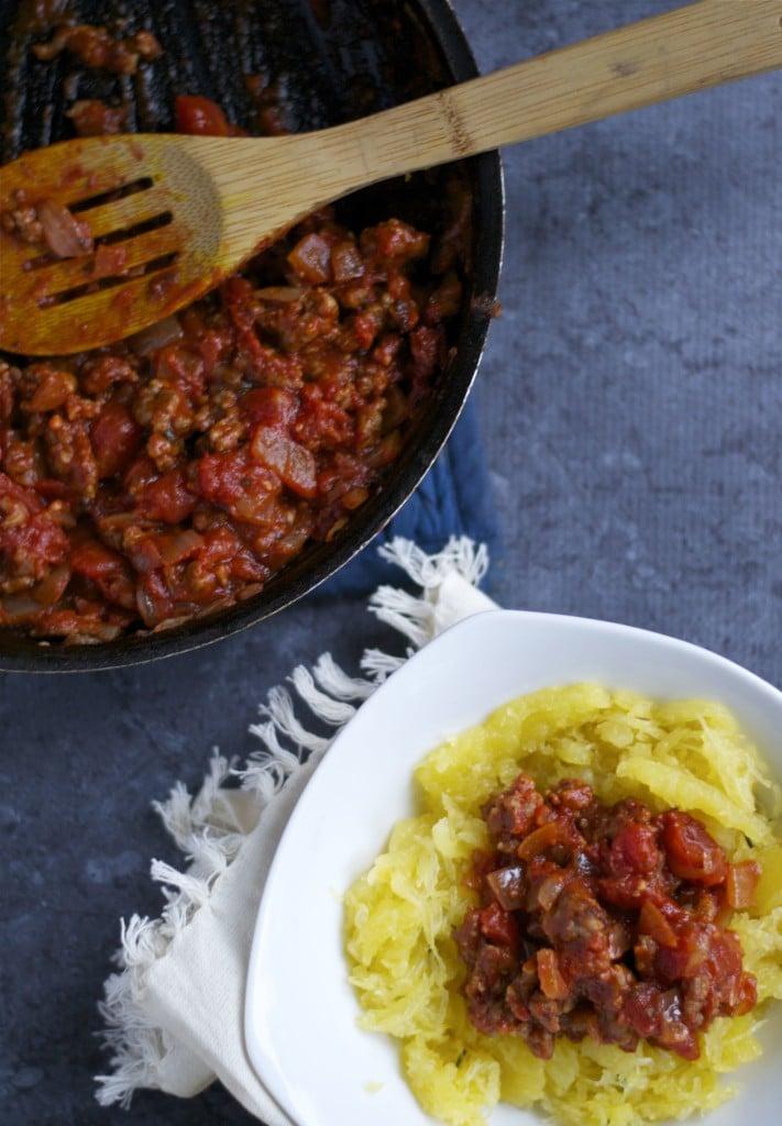 Spaghetti Squash with Meat Sauce (GF, DF) - A Dash of Megnut