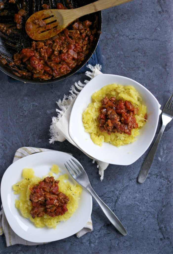 Spaghetti Squash with Meat Sauce (GF, DF) - A Dash of Megnut