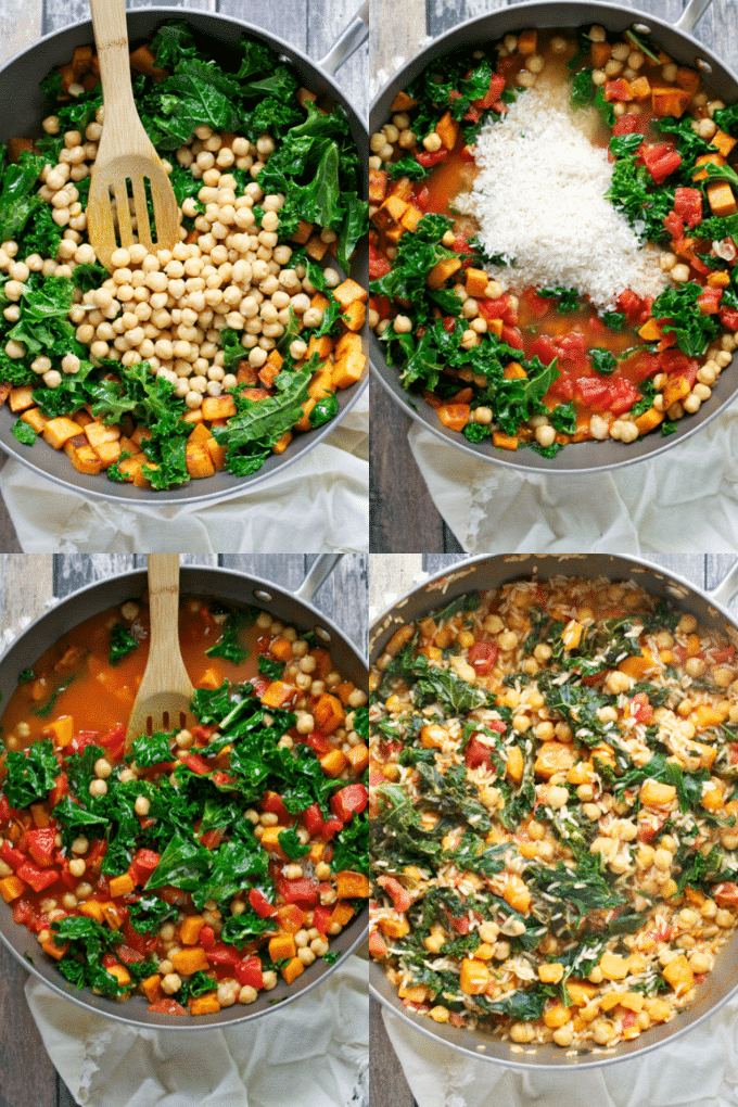 A collage showing the process of showing how to make chickpea sweet potato kale rice skillet.