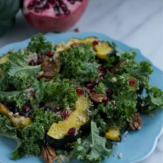Pomegranate and Squash Kale Salad (GF, DF, V) - A Dash of Megnut