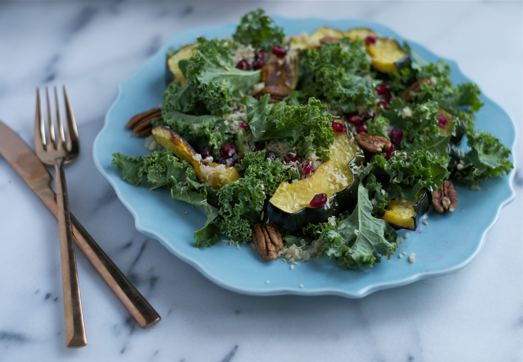 Pomegranate and Squash Kale Salad (GF, DF, V) - A Dash of Megnut