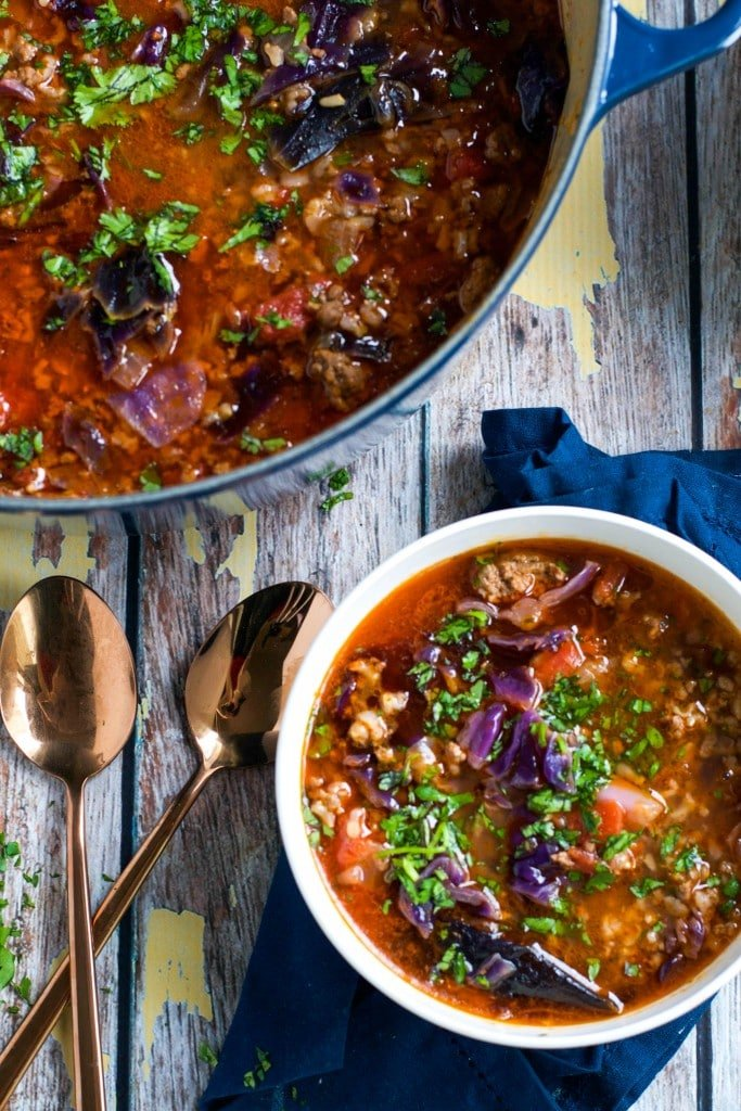 Cabbage Roll Soup (GF, DF) - A Dash of Megnut