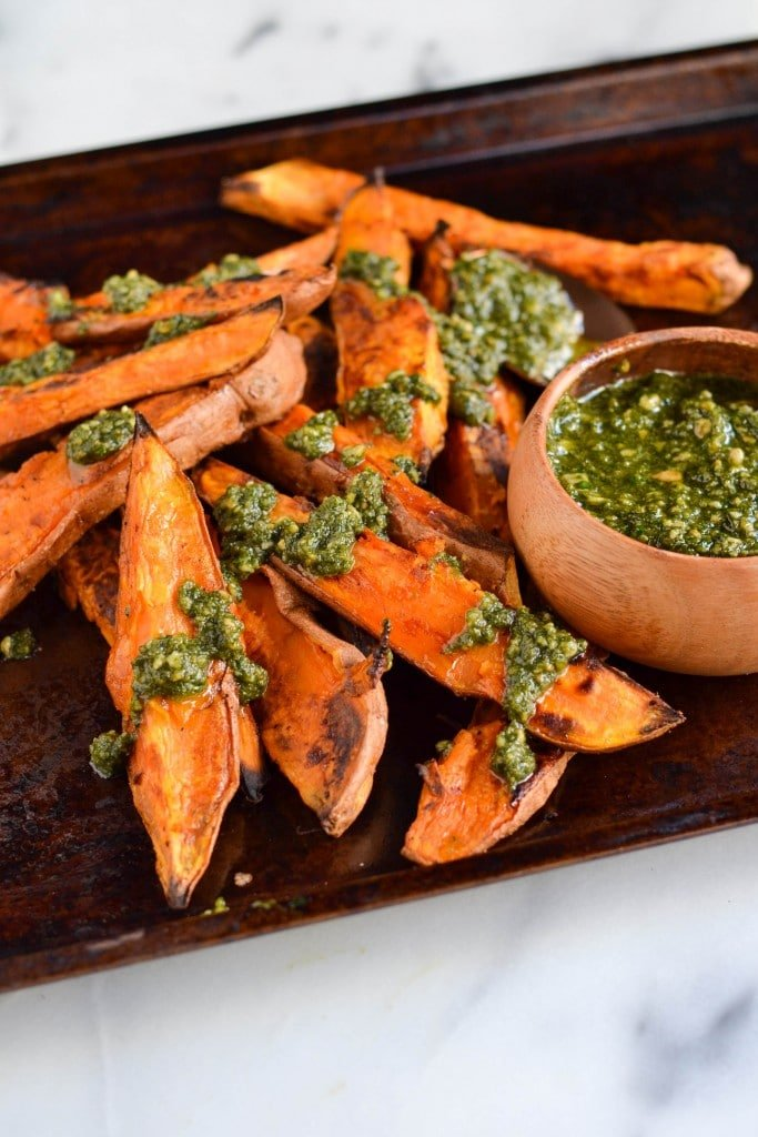 Sweet Potato Wedges with Vegan Parsley Pesto (GF, DF, V) - A Dash of Megnut
