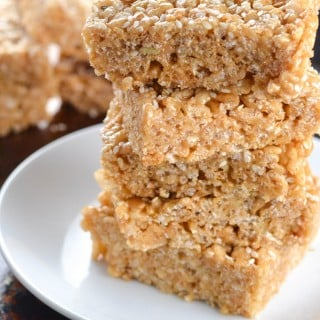 Tahini Brown Rice Krispies Treats (GF, DF, V, RSF) - A Dash of Megnut