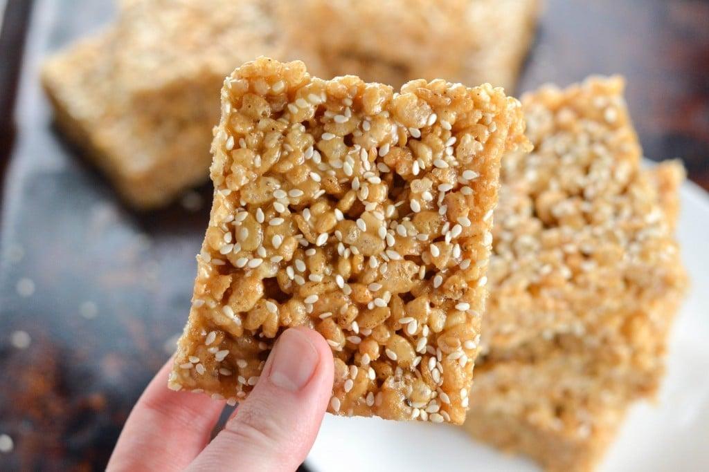 Tahini Brown Rice Krispies Treats (GF, DF, V, RSF) - A Dash of Megnut