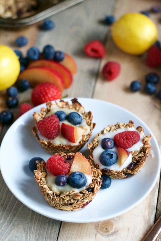 Vegan Granola Cups with Fruit and Lemon Coconut Filling (GF, V, DF, RSF) - A Dash of Megnut