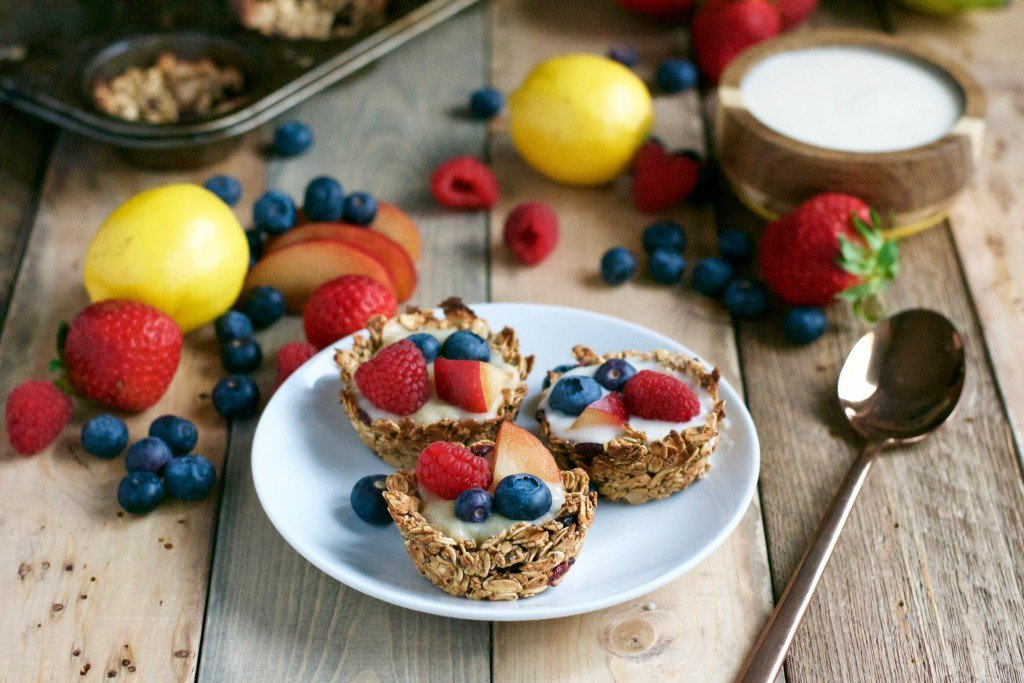Vegan Granola Cups with Fruit and Lemon Coconut Filling (GF, V, DF, RSF) - A Dash of Megnut