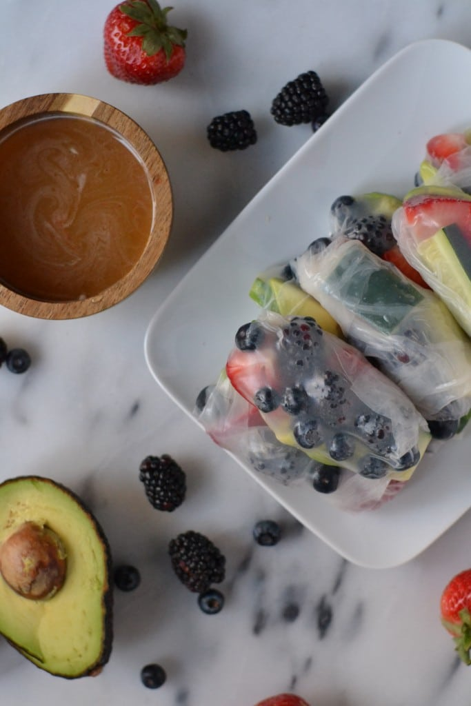 Berry Avocado Spring Rolls (GF, DF, V) - A Dash of Megnut