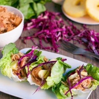 Slow Cooker Pineapple Pork Lettuce Wraps (GF, DF) - A Dash of Megnut