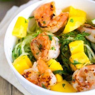 Mango Shrimp Cucumber Noodles (GF, DF) - A Dash of Megnut